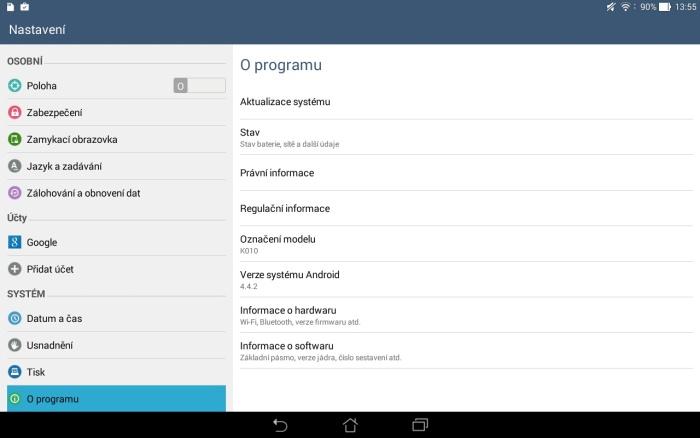 aktualizace systému tablet asus 1