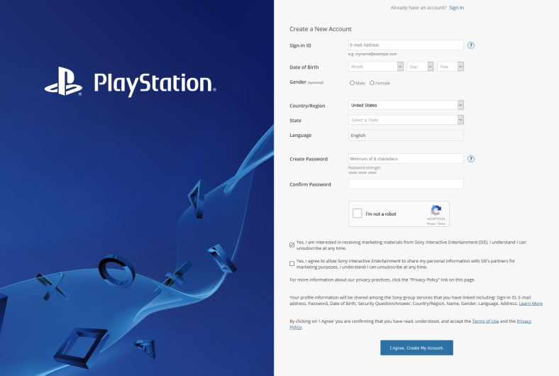 psn registrace 1