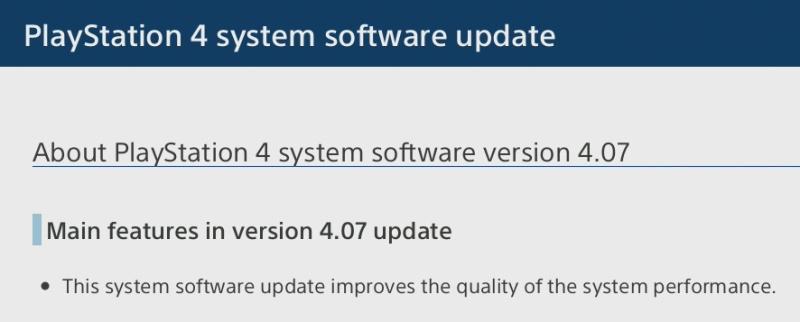 ps4 update 407 - 2
