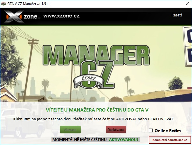 grand theft auto 5 čeština manager