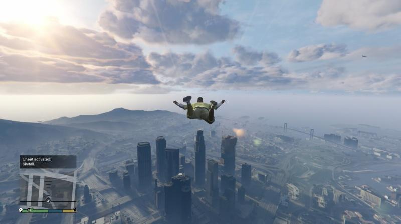 GTA 5 PS4 cheat Let volným pádem – Skyfall