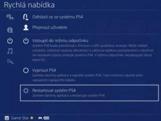 Jak restartovat PS4