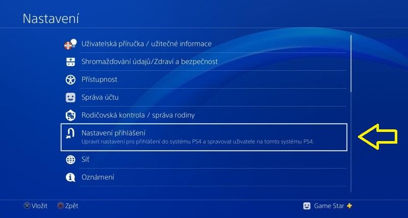 PS4 automatické přihlášení 2