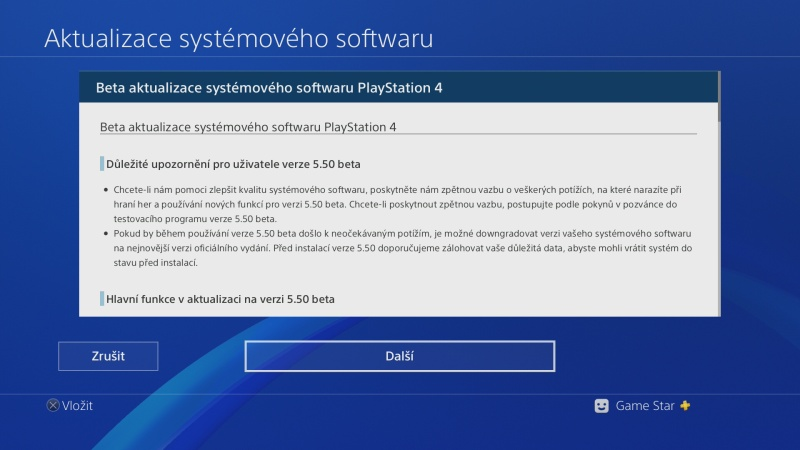 PS4 system software update 5.50 beta 07