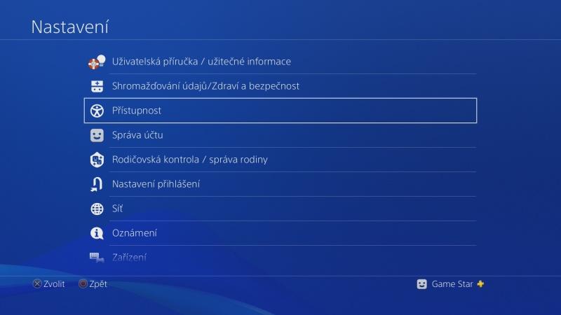 Přiřazení tlačítek na gamepadu PS4 – Sony Playstation