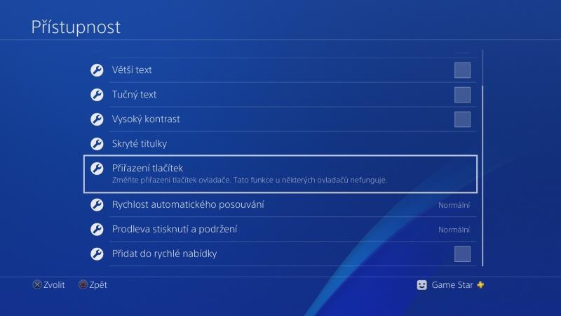 Přiřazení tlačítek na gamepadu PS4 – Sony Playstation 2