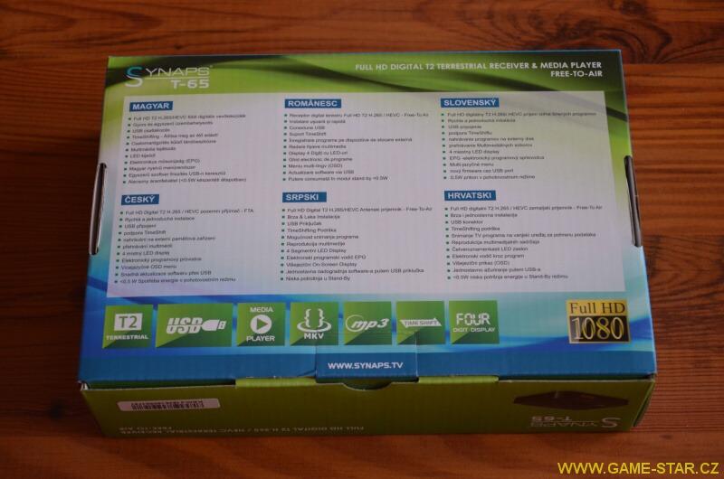 Synaps T-65 DVB-T2 HD set top box – recenze 24