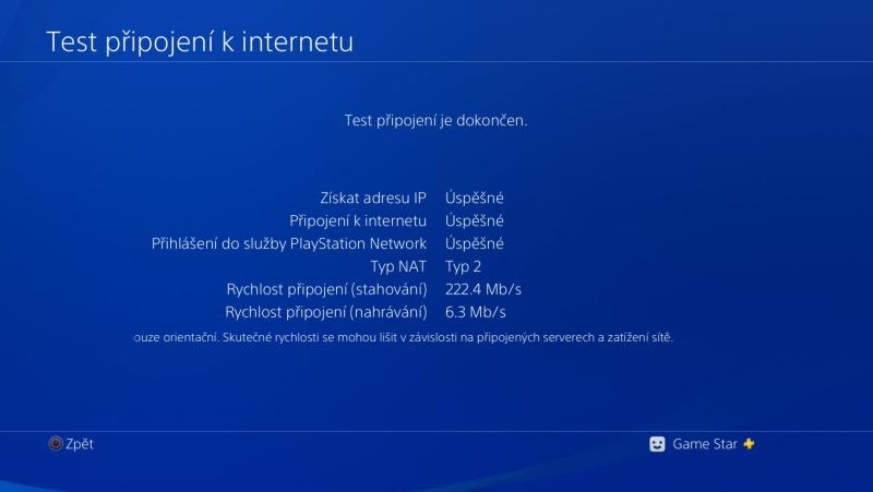 PS4 test připojení k internetu