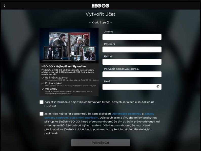 HBO GO vytvořit účet