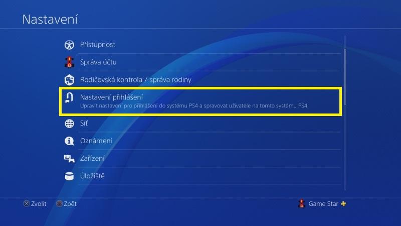 Jak odstranit uživatele PS4