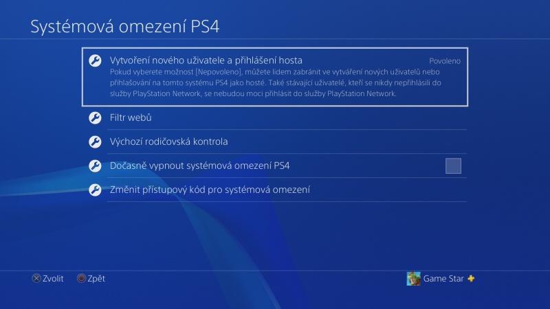 Rodičovská kontrola PS4 - 04