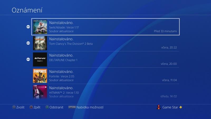 Jak vymazat zprávy - oznámení v Playstation 4 - 2