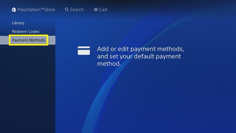 PS4 propojení platební karty 1