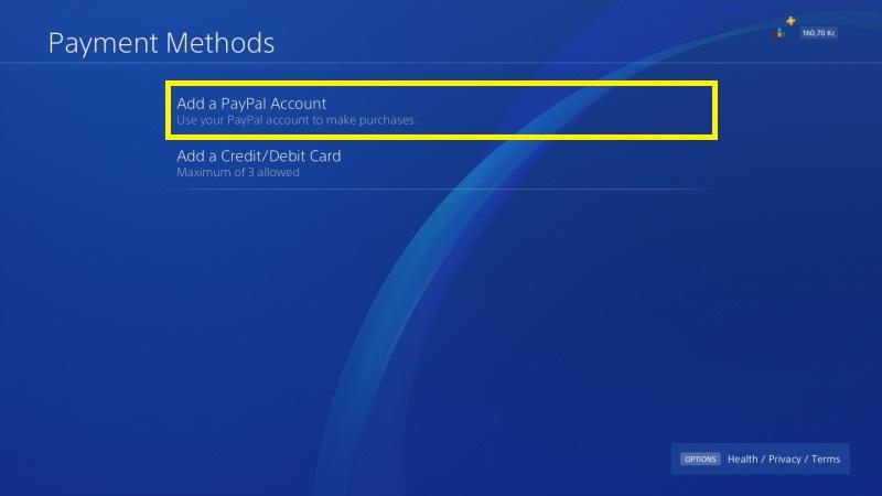 PS4 propojení s Paypal