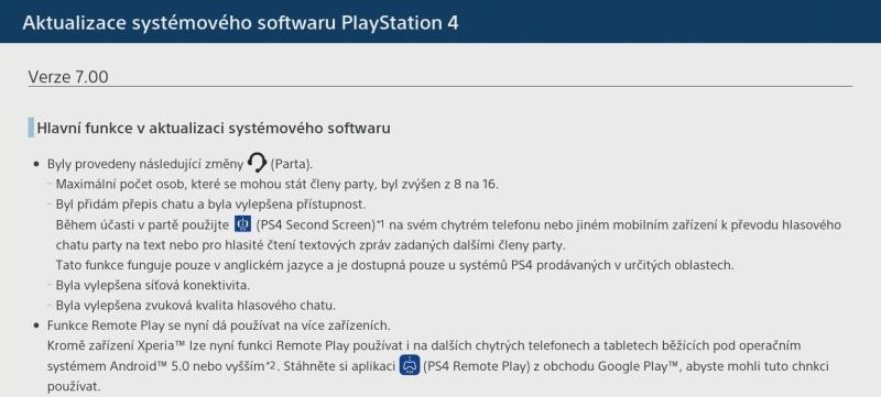 PS4 firmware update verze 7.0_2