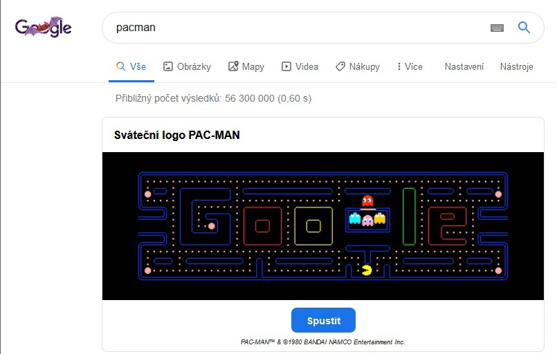 Pacman v prohlížeči Google