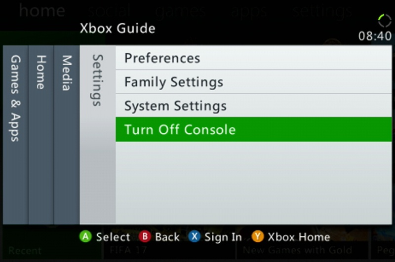 Restart Xbox 360