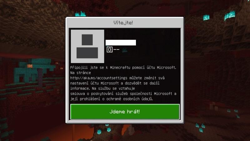 Minecraft na PS4 - přihlášení pomocí účtu Microsoft 7