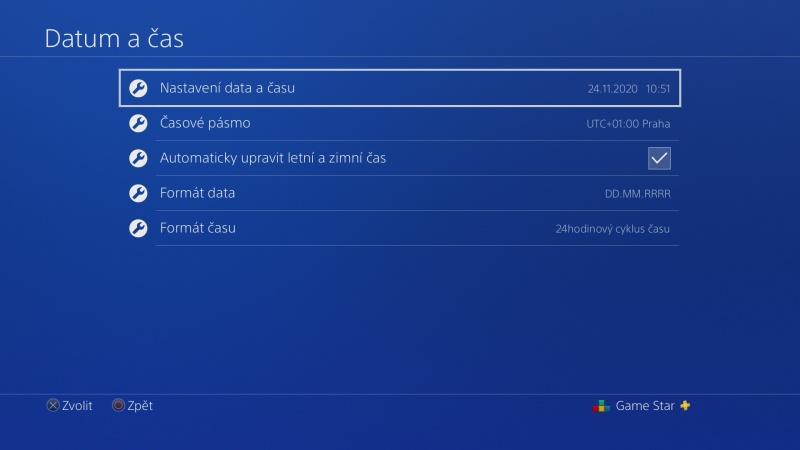 Nastavení data a času na PS4 - 1