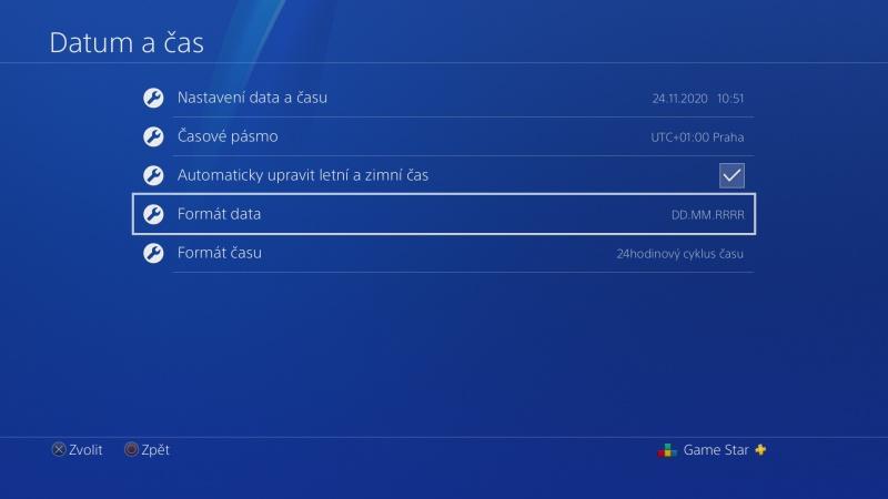 Nastavení data a času na PS4 - 4