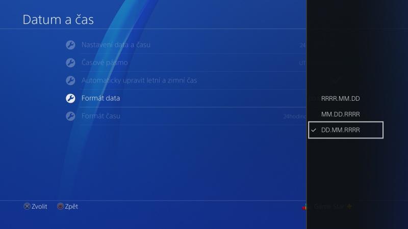 Nastavení data a času na PS4 - 5