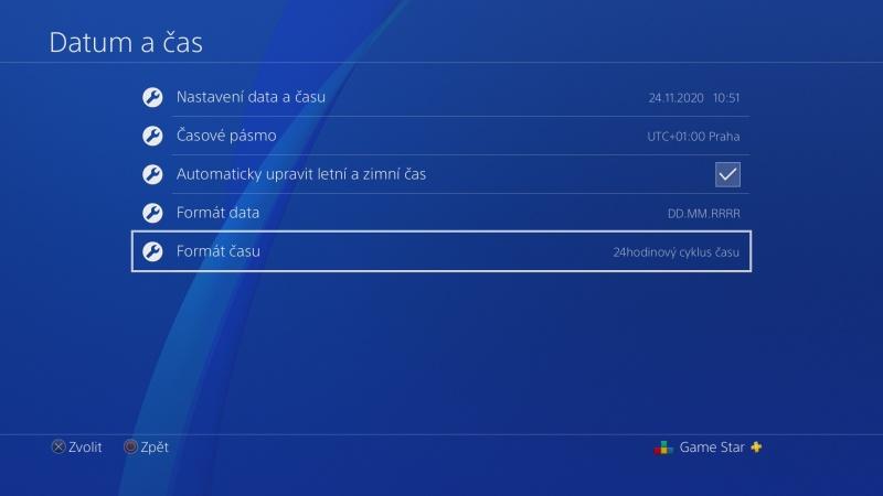 Nastavení data a času na PS4 - 6