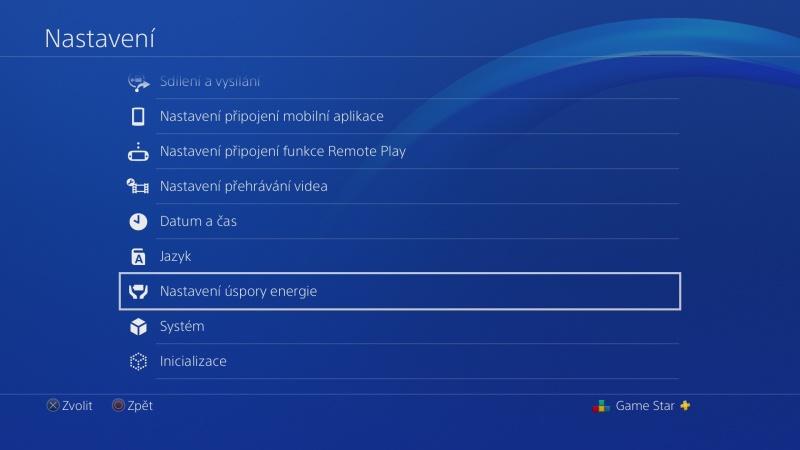 Nastavení úspory energie na PS4 - 1
