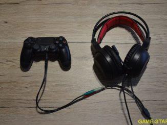 Zapojená redukce do sluchátek a PS4 ovladače
