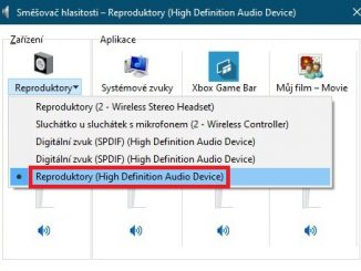 Směšovač hlasitosti Windows 10 reproduktory