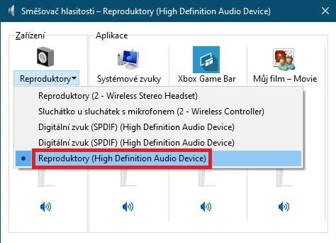 Směšovač hlasitosti Windows 10 reproduktory