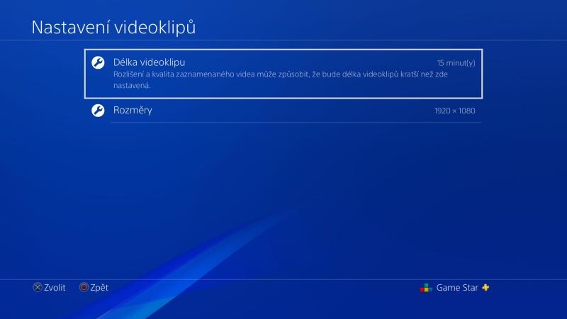 Délka videoklipu na PS4