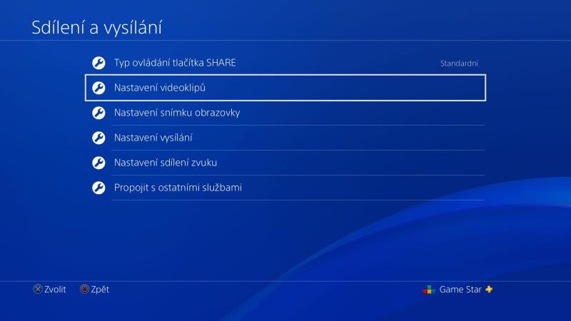 Nastavení videoklipu na PS4