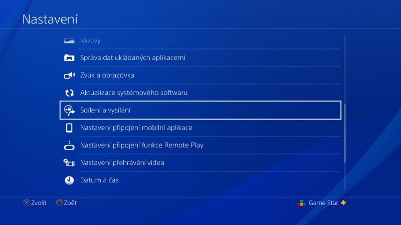 PS4 nastavení sdílení a vysílání