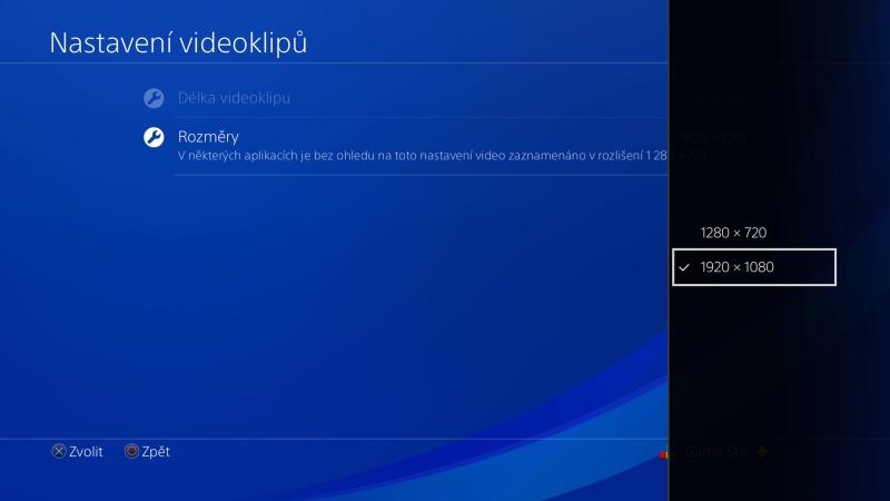 Rozměry videoklipu na PS4
