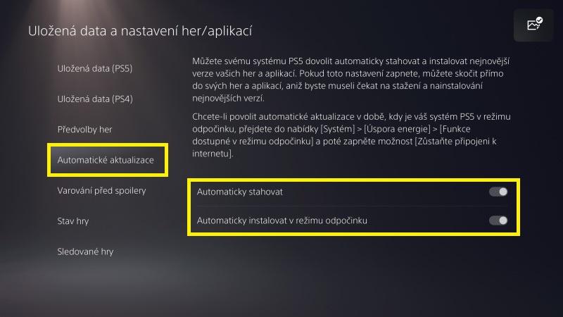 Automatické aktualizace PS5