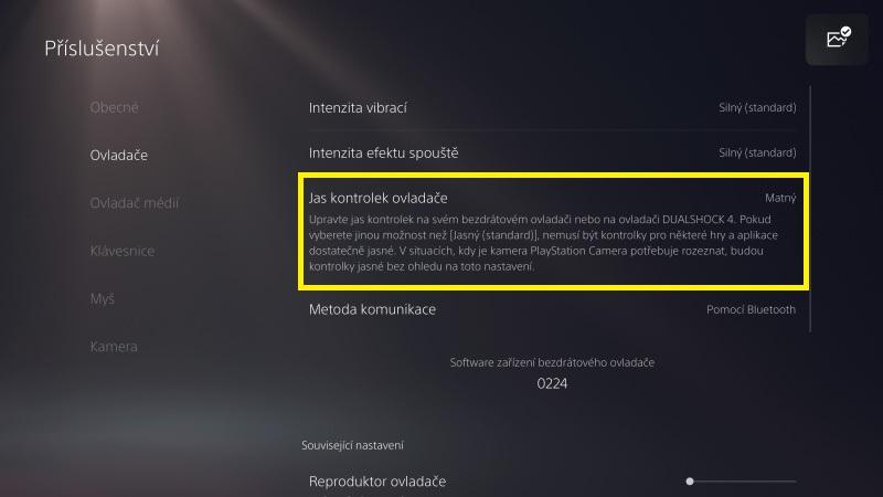 Jak snížit jas na PS5 ovladači DualSense - 2