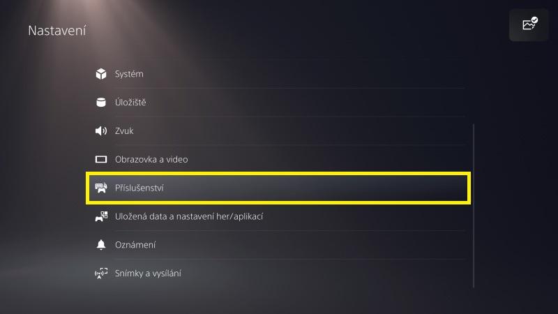 PS5 nastavení příslušenství