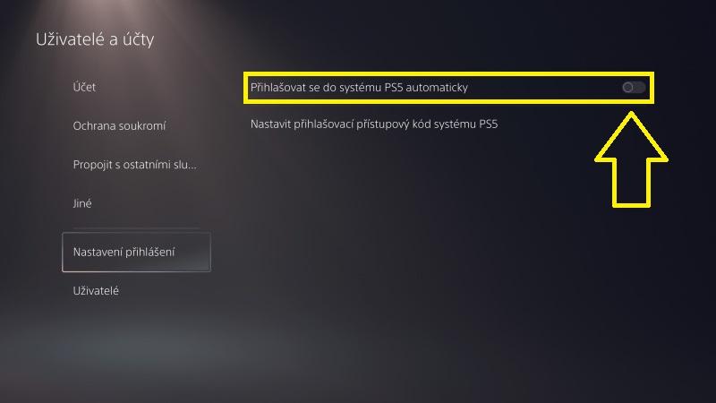 Automatické přihlášení do PS5