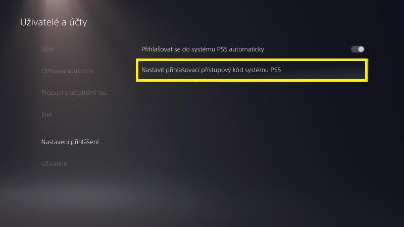 Jak nastavit přihlašovací heslo do PS5