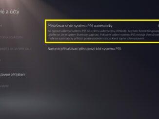 Přihlašovat do systému PS5 automaticky