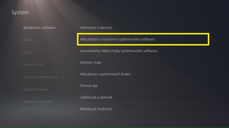 PS5 aktualizace systémového software 3