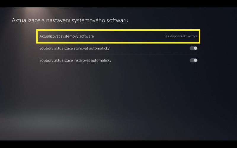 PS5 aktualizace systémového software 4