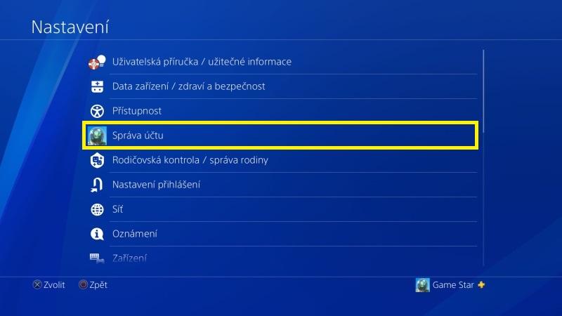Jak změnit email na PS4 - 2